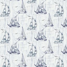 Sailboat Blackout Electric Roller Blind - Blue